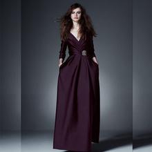2015 women autumn fashion Dress elegant floor length V neck designer maxi dress long sleeve formal Dress D4530(China (Mainland))