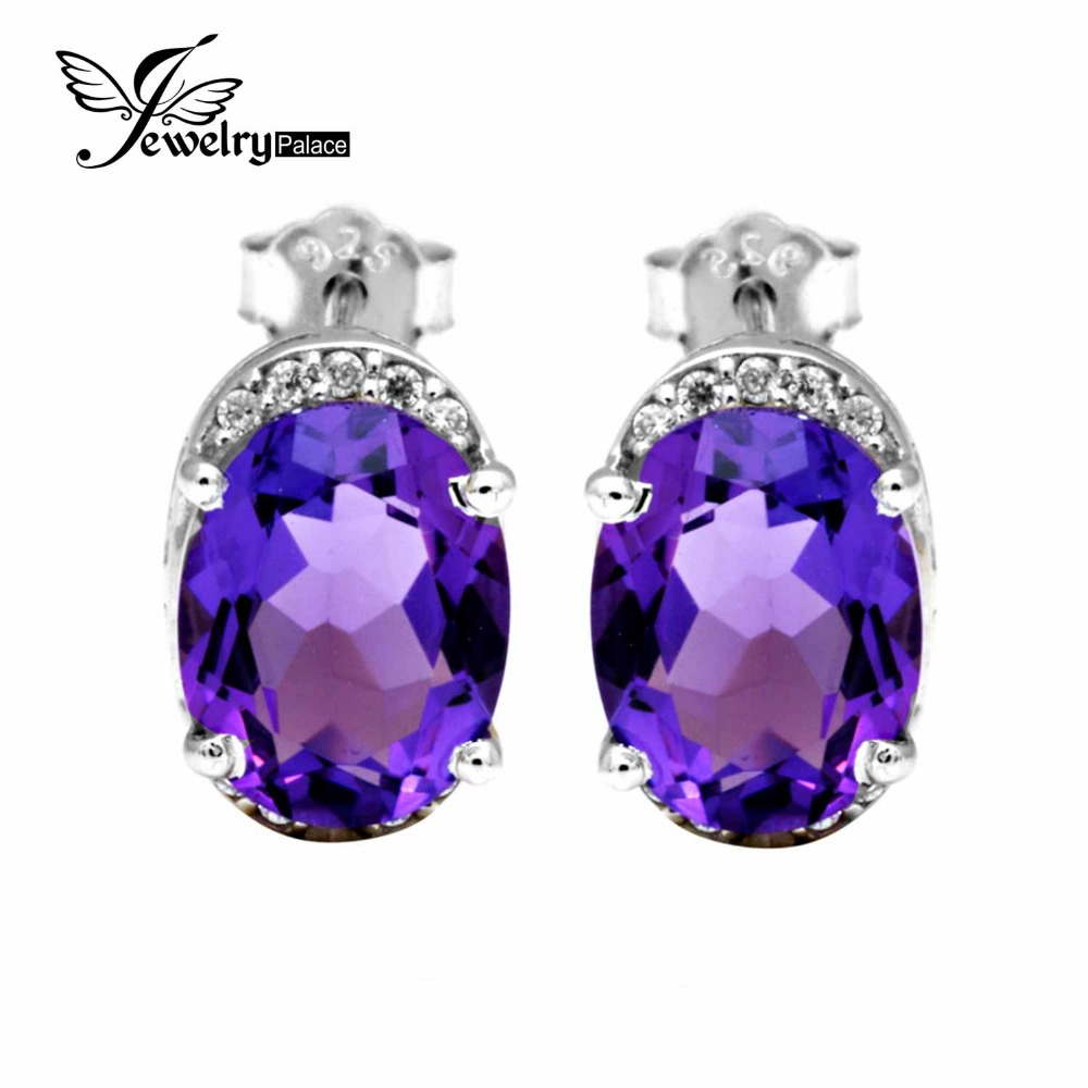 3.2ct Vintage Antique Charm Romantic Design Fashionable Engagement Natural Amethyst Stud Earrings Genuine 925 Sterling Silver(China (Mainland))