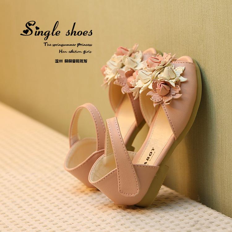 Лето стиль дети в сандалии корейский дети девочки цветок принцесса рыба сандалии девочка обувь kl2265