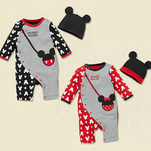 Baby romper boy's girl's autumn Winter cartoon Minnie Mickey full sleeve romper baby's wear Conjoined clothes sets(China (Mainland))