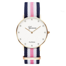 2016 Luxury Brand Best Quality Watches Casual Women Nylon Strap Quartz Wristwatch 40mm 36mm Diamond dial Clock Relogio Masculino(China (Mainland))