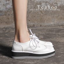 Full Season Oxfords Europe Fashion Platform Shoes Woman Flats Casual Women s Oxfords Round Toe Brogue