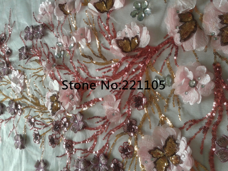 New 3D Flowers Top Embroidered Fabric Polyester Mesh African Lace Yarn Material For Sewing Welding Dress 55*120CM Pink $34.98(China (Mainland))