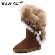 Nuevas botas de Nieve para mujer Borlas de piel de Conejo Naturaleza zapatos planos de cuero genuino de piel de zorro Caliente Azul Amarillo negro(China (Mainland))