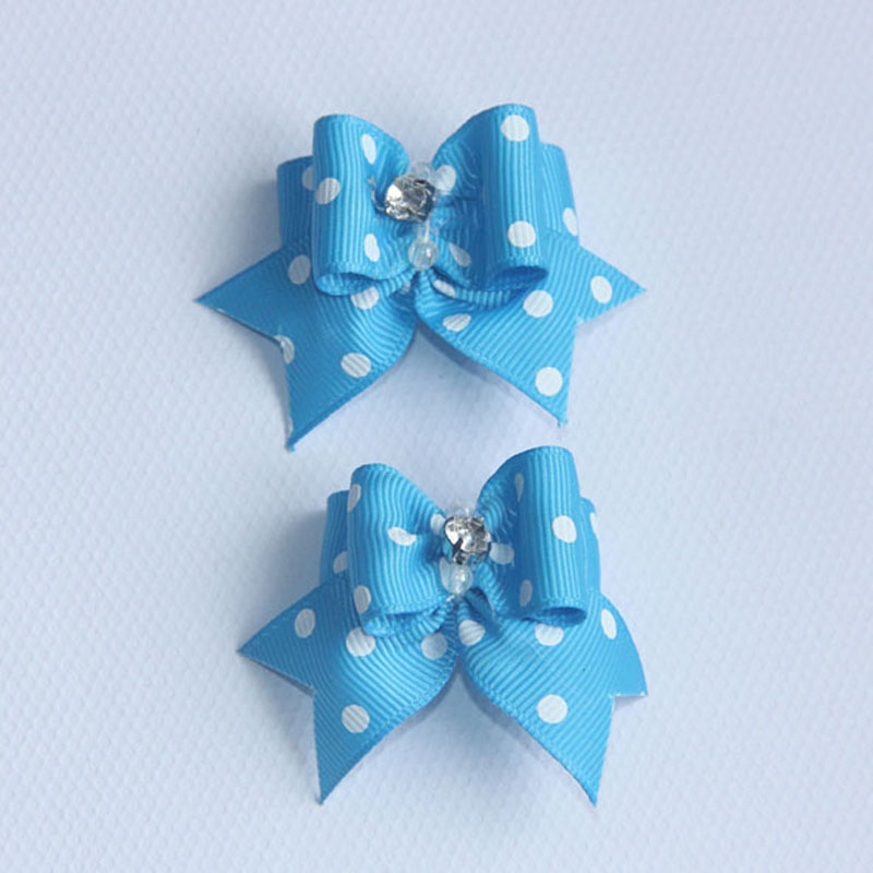 1 Pair 9 Colors Pet Hair Accessories Handmade Dog Hair Bow knot Cat Ribbon Rubber Band With Diamond Pet Grooming Boutique Retail