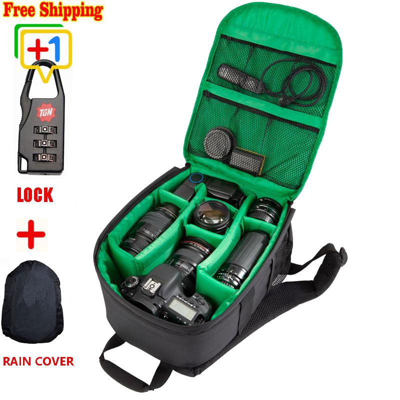 Camera Dslr Bag Waterproof New Pattern DSLR Camera Bag Backpack Video Photo Bags for Camera d7100 Small Compact Camera Backpack(China (Mainland))
