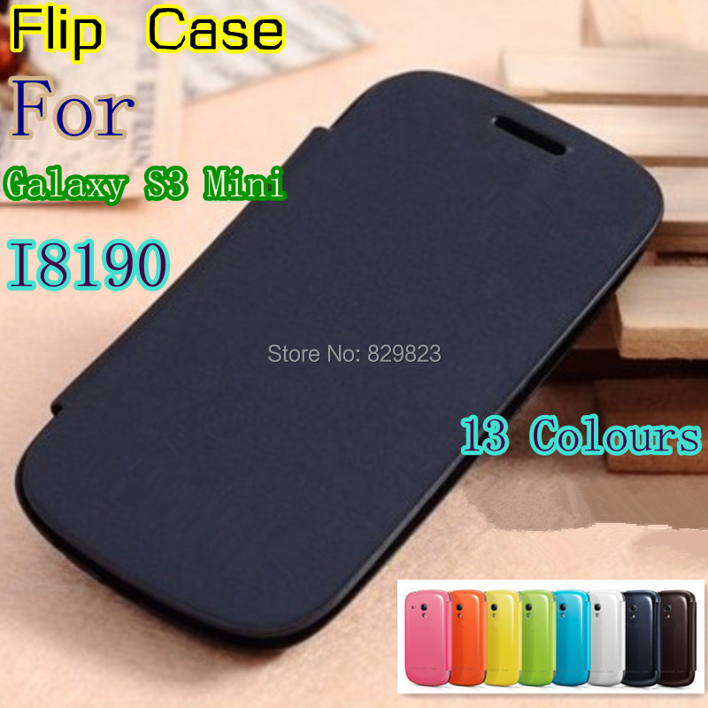 leather back cover cases battery housing Flip case for Samsung Galaxy S3 SIII Mini i8190 8190 +Screen protector(China (Mainland))