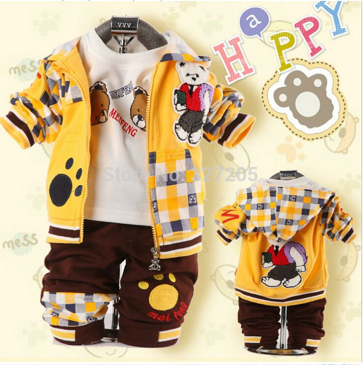 2015 new new baby cartoon clothes set bear three-piece suit clothing sets for Spring kids Plaid bags Cubs clothes set(China (Mainland))