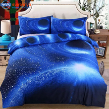Moon Star Galaxy space bedding sets queen size,4pc duvet cover set with bedsheet pillowcases/5pc comforter set(China (Mainland))