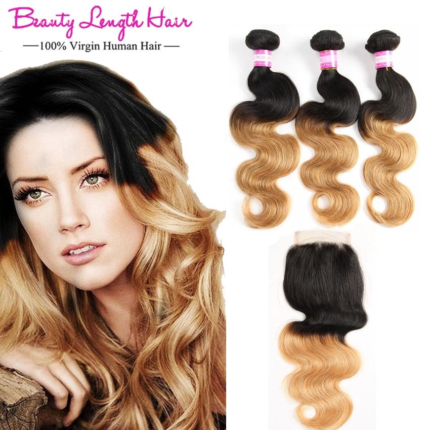 28 8a Russian Human Hair Weaves Two Toned Ombre 1b 27 Root Wavy