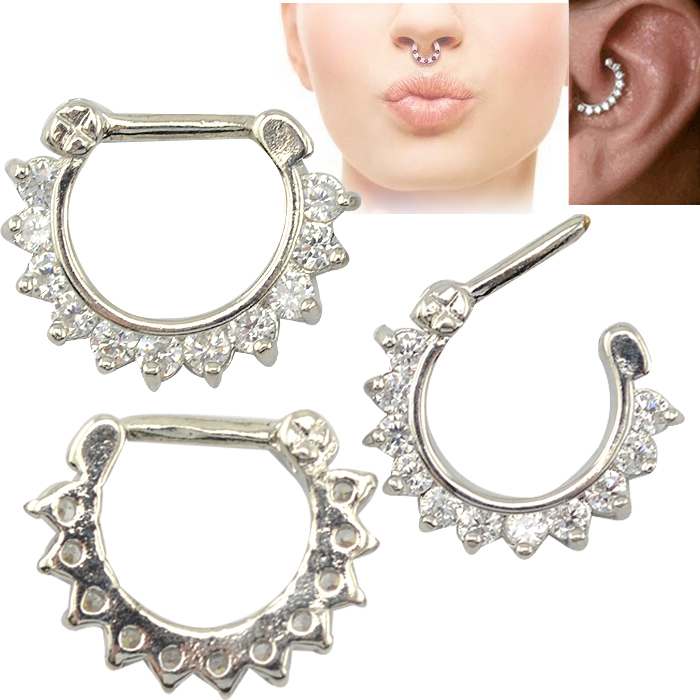 20 pcs/lot copper  piercing nose ring hoop indian nose ring septum clicker with zircon flower 1.6*10mm jewelry <br><br>Aliexpress