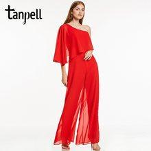 Tanpell одно плечо вечернее платье, пикантное черное ТРАПЕЦИЕВИДНОЕ ПЛАТЬЕ длиной до пола женское вышитый бисером шифоновое длинное открытая ...(China)