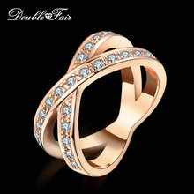 Buy Double Fair two Rounds Cross CZ Stone Retro Rings Silver/Rose Gold Color Fashion Cubic Zirconia Jewelry Women DFR112M for $2.90 in AliExpress store
