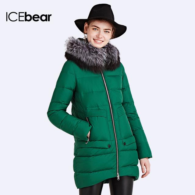 2016 ICEbear Модель пуховика приталенный Элегантный меховой воротник куртки Парка теплая пальто женское стильное 16G688