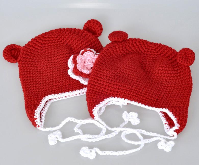 Newborn Crochet outfits Flower Handmade Knit Baby Crochet Hat Beanie Baby Cap Red 21cmx15cm,1PC(China (Mainland))
