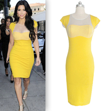 2016 Plus Sizes New Sexy Ladies Clubwear Celebrity Style Business Women Party Evening Slim Bodycon Dress S/M/L/XL Yellow