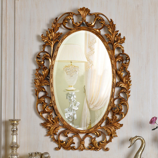 European refined resin oval mirror antique frame luxury for Miroir antique en bois