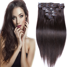 "Real Remy Clip In Hair Extensions 7A Brazilian Straight Dark Brown Clip In Human Hair Extensions 16""-28"" Full Head 7Pcs 5Colors(China (Mainland))"