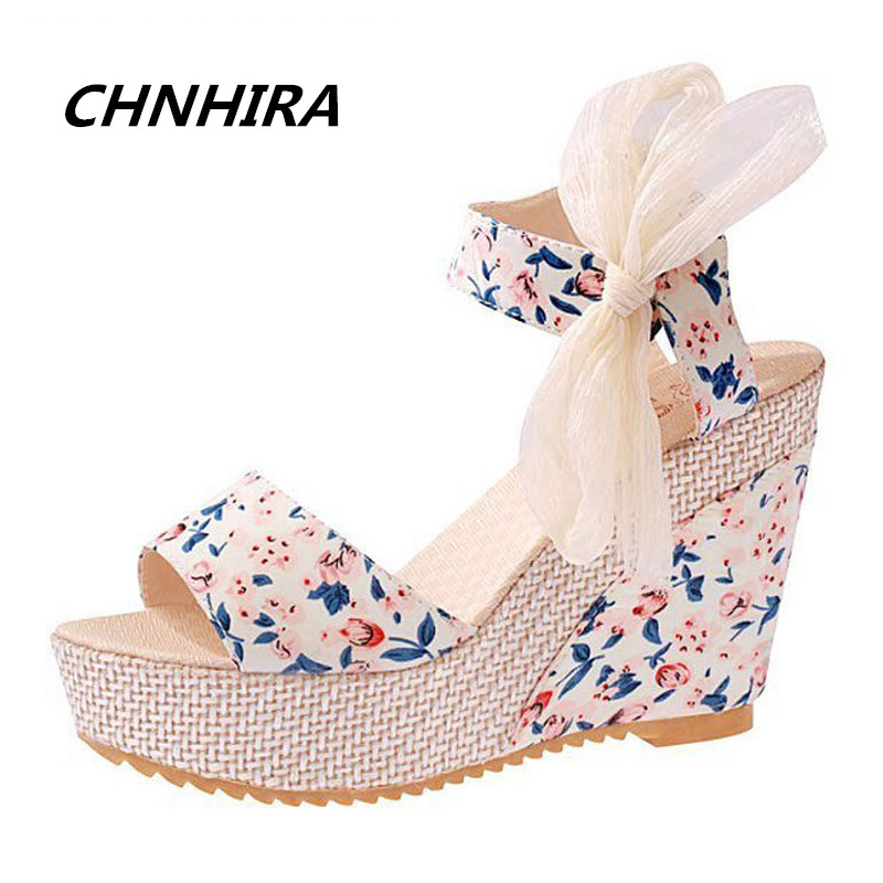 Floral Wedges Sandals Summer Style Platform Gladiator Sandals 2016 Flats Shoes Woman Casual Lace Bowtie High Heels#HR812(China (Mainland))