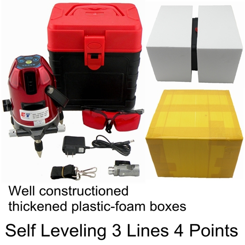 KaiTian Cross Line Laser Level with 360 Rotary Outdoor Tilt Function Euro Plug 635nM Leveler 3 Lines 4 Point Self Leveling Level(China (Mainland))