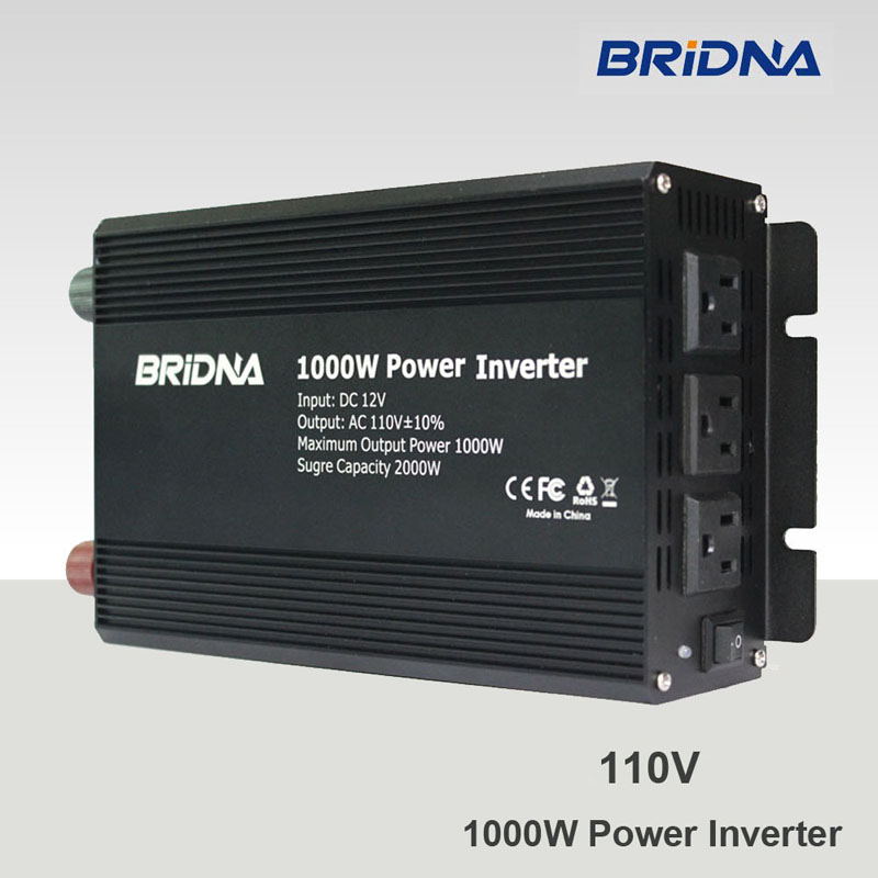 BRIDNA 1000w (2000W peak) modified sine wave invertor converter dc 12v 24v to ac 110v 60HZ battery auto car home power inverter(China (Mainland))
