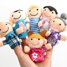 Hot Sale 6Pcs Per Lot  Fuuny Family Finger Puppets Cloth Doll Baby Kid Educational Hand Toy Story(China (Mainland))