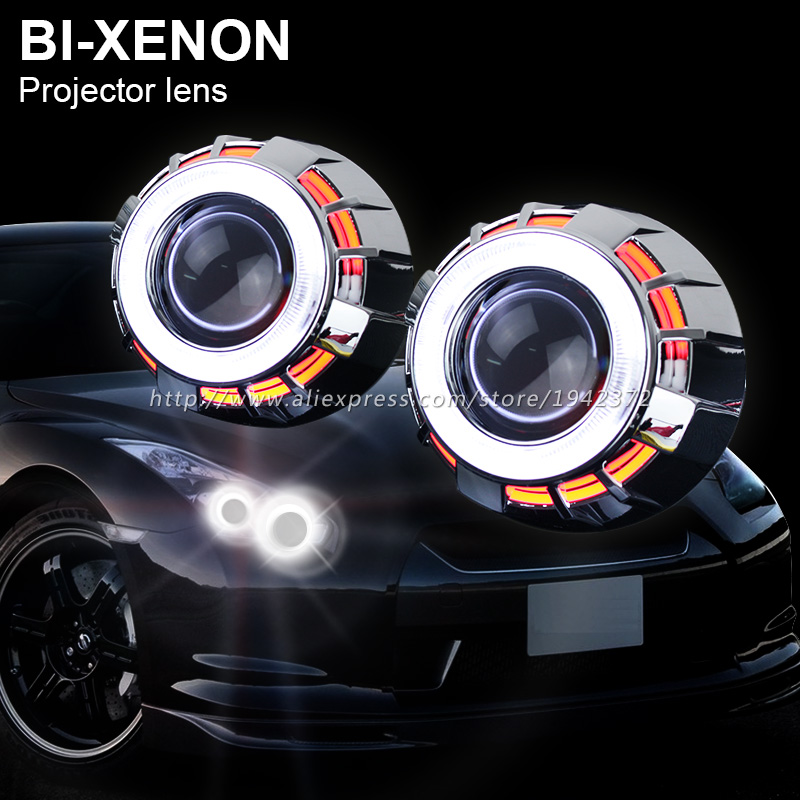 2.8 Inches HID Bi Xenon Projector Lens Double Dual Angel Eyes Hola Ring for H1 H4 H7 Car Bixenon Headlight Replacement Light(China (Mainland))