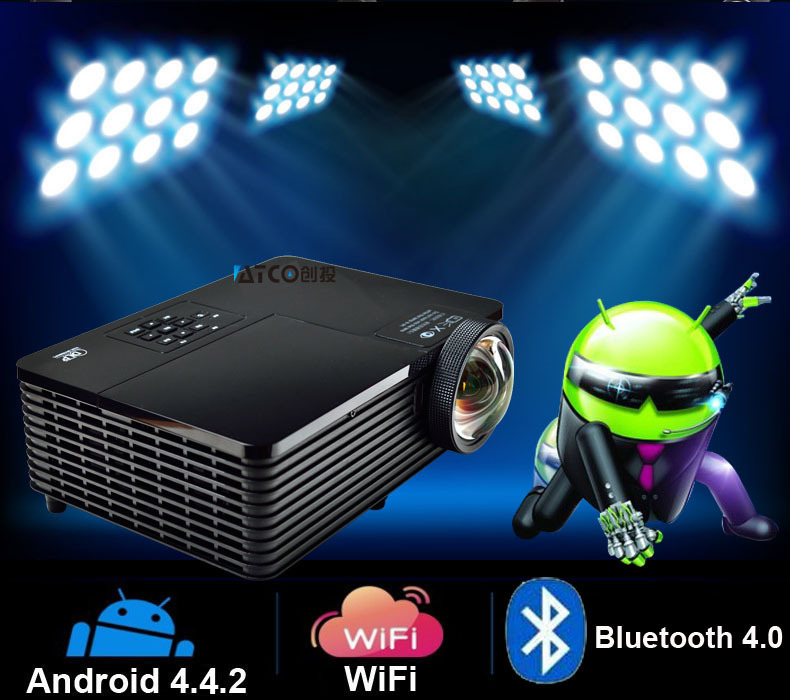 Best Quad core Android 4.4 WiFi Bluetooth 300inch 5800ANSI HDMI USB RJ45 Education Outdoor 1080P DLP 3D short throw Projectors - WZSZBH store
