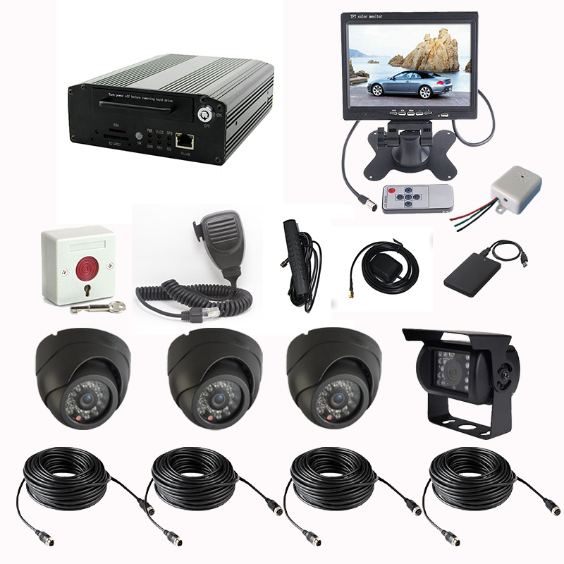 3G Vehicle Security Camera System 4CH Video 2CH Audio 6CH Alarm Input H.264 CIF/HD1/D1 3G Mobile DVR GPS LED Ad And PTZ Control(China (Mainland))