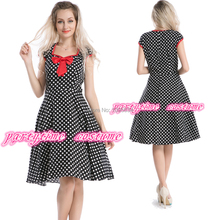free shipping  partytime  Polkadoty Pageant Dress Black White Red Bow Rockabilly Pinup 50's S-6XL(China (Mainland))