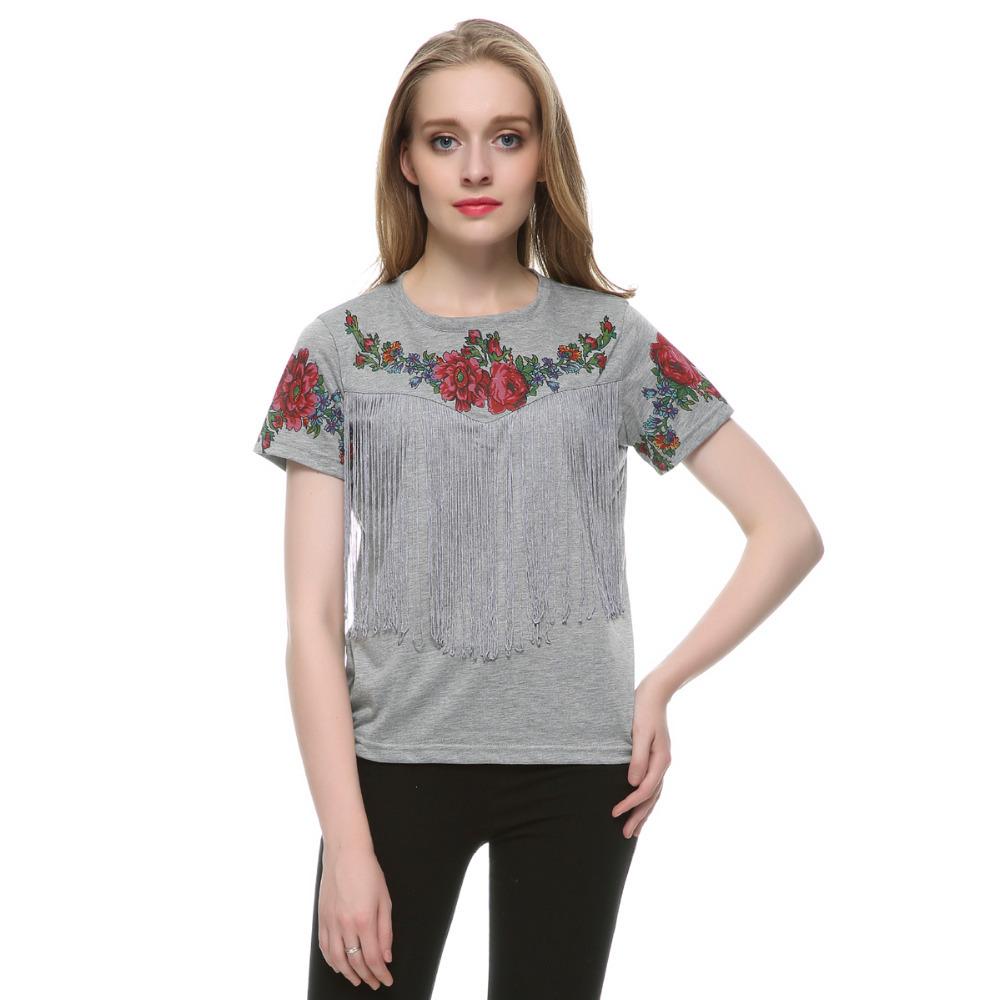 Women Tassel Flowers Print T Shirt Vintage Red Rose Top O