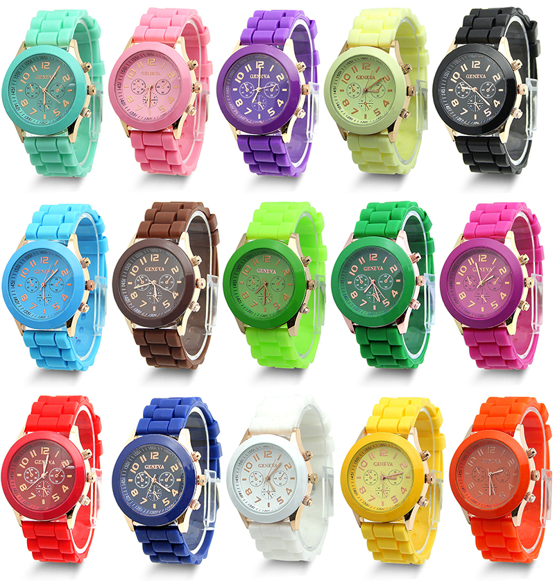 N719 2015 Brand Design New Unisex Analog Colorful Silicone Jelly Gel Sport Wrist Watch Geneva Quartz Gift Free Shipping(China (Mainland))