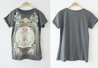 регулярных женский бренд заклепки цветочные печати o шеи случайный хлопчатник вершины t рубашки женщин футболку blusas femininas