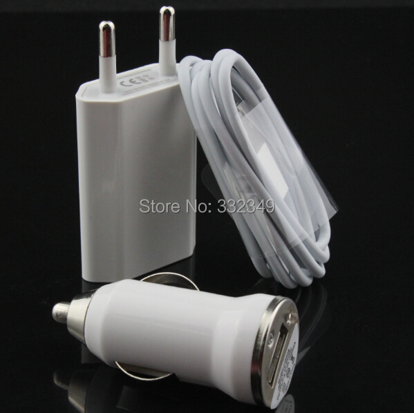 3 in 1 Kit EU AC Travel USB Wall Charger+ Car Charging Charger+ 8 PIN Date Sync Charging Cable For iPhone 5 5S 5C 5G 6 6 plus(China (Mainland))