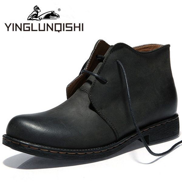 New 2015 Men Boots Genuine Leather Spring Autumn Casual Men Shoes Breathable Cowboy Boots For Men leather Boots Black Size 38-44(China (Mainland))