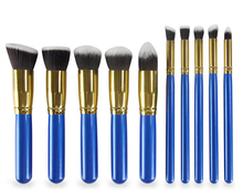 1set=10pcs makeup brushes kabuki set bag Foundation Golden Black Blue Pink White Brush Eyeshadow Makeup Tools Wholesale