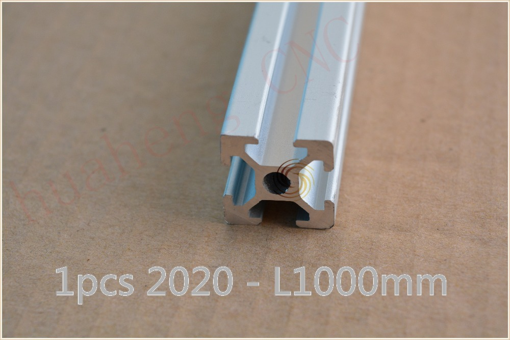 1pcs 2020 aluminum extrusion profile length 1000mm width 20mm high 20mm industrial aluminum profile for engraving work table(China (Mainland))