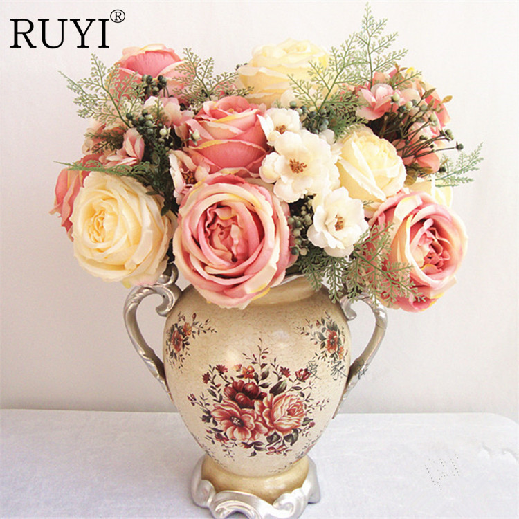 Artificial peony flower bouquet spring silk / fake flower living room decoration wedding rose Simulation plants(China (Mainland))
