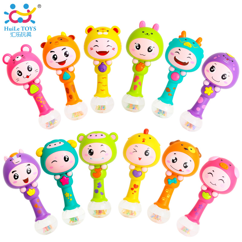 HUILE TOYS Chinese Zodiac Dynamic Rhythm Stick Plastic Baby Rattles Kid Musical Party Favor Baby Shaker Sand Hammer Toy Gifts(China (Mainland))