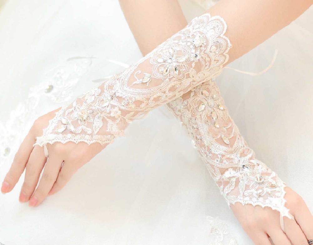 free size white fingerless lace sequins short bridal