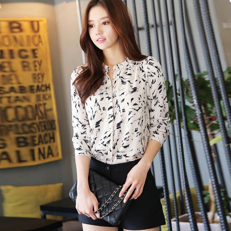Женские блузки и Рубашки Blusa 2015 Auturn v женские блузки и рубашки romantic beach blusa femininas2015 sh022