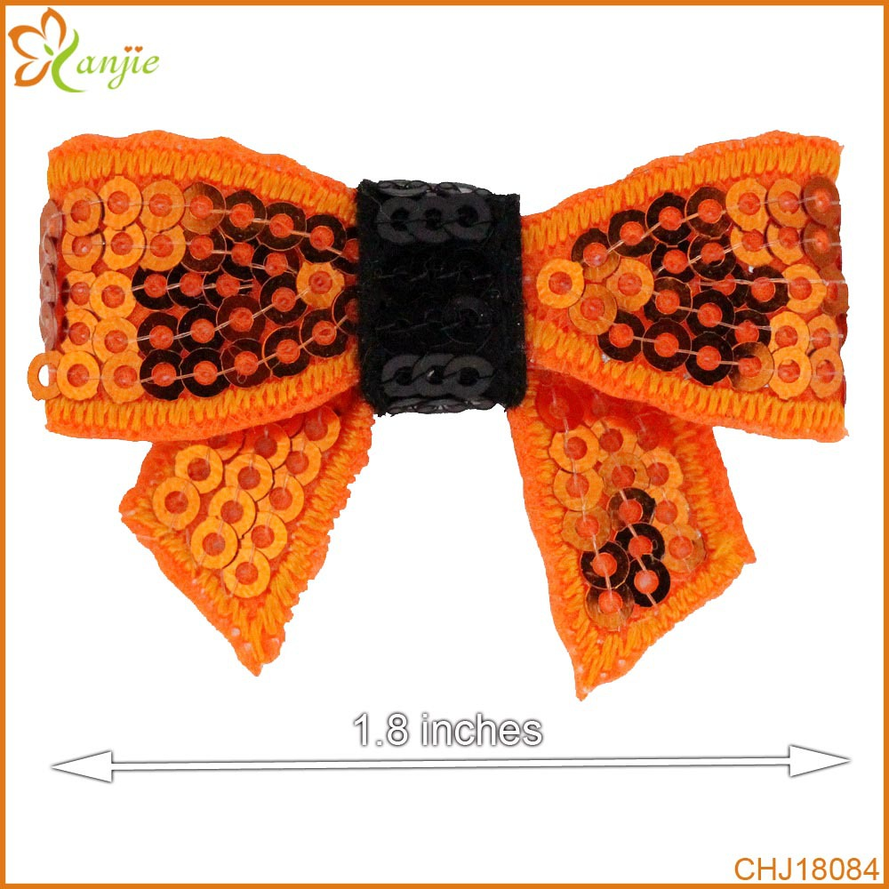 """50pcs/lot 1.8"""" Halloween Orange/Black Knot Applique Neon Sequin Bow Without Clips Girl Beauty Bows Hair Accessories Headwear(China (Mainland))"""