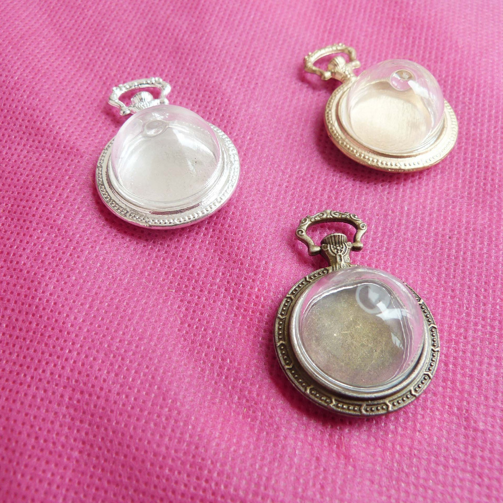 10set---20mm hemisphere clear  glass dome bottle & pendant cabochon tray for diy necklace