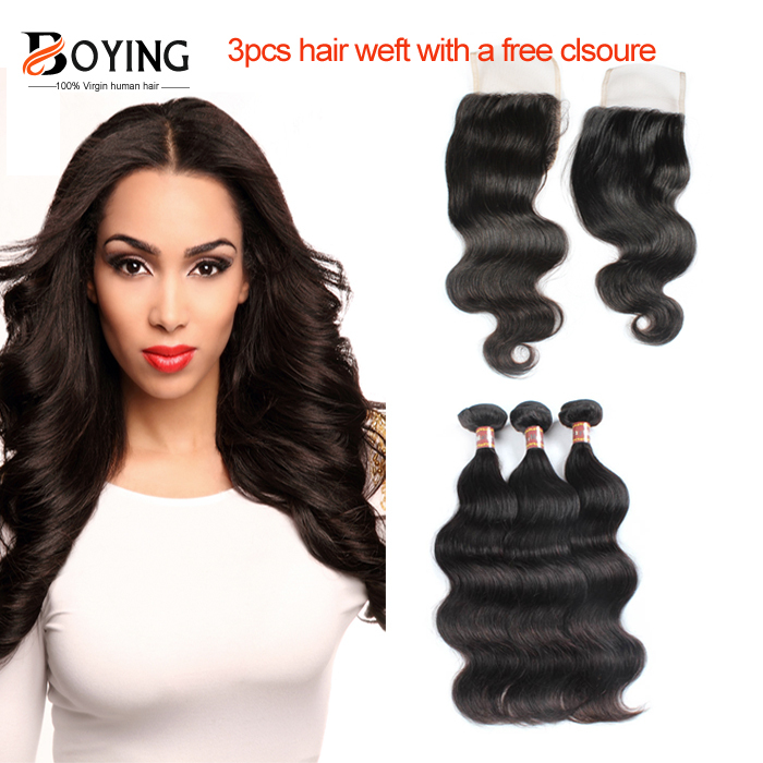 Malaysian Virgin Hair Body Wave 3Pcs Virgin Hair Extensions With A Free Closure 4 Bundles Malaysian Body Wave Virgin Hair Weave<br>