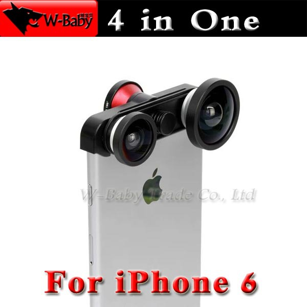 0.4X Supper Wide-Angle+180 Fish eye+Macro+Front Fisheye 4 in 1 lens,1 pcs/lot mobile phone accessories for iPhone 6 lens