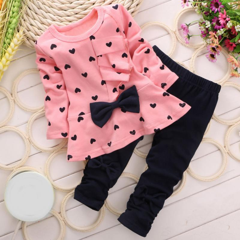 Popular Spring Autumn Baby Girls Sweet Princess Clothes Set Casual Children Bow Decor Love Heart Printed T-shirt Pants Suits(China (Mainland))