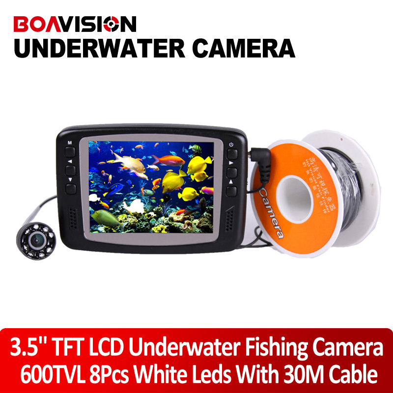 Underwater Fishing Camera System 8 IR LEDs 30M cable Underwater Fish Camera With Portable 3.5 TFT LCD Fish Finder Night Vision(China (Mainland))