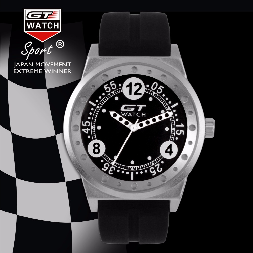 GT WATCH Motor Racing Sports Relojes Men's Fashion Military Pilots Wristwatch Unisex Silicone Strap Quartz Fashion Design Watch