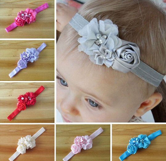 Infant flower headband 12 colors Baby pearl lace hairband Toddler Baby girls Felt Flower headbands A031(China (Mainland))