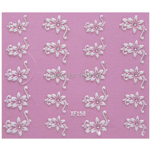 Nail Art Stickers Decal 3D Beauty White Flower Clear Crystal Decoration Design French Manicure Tools